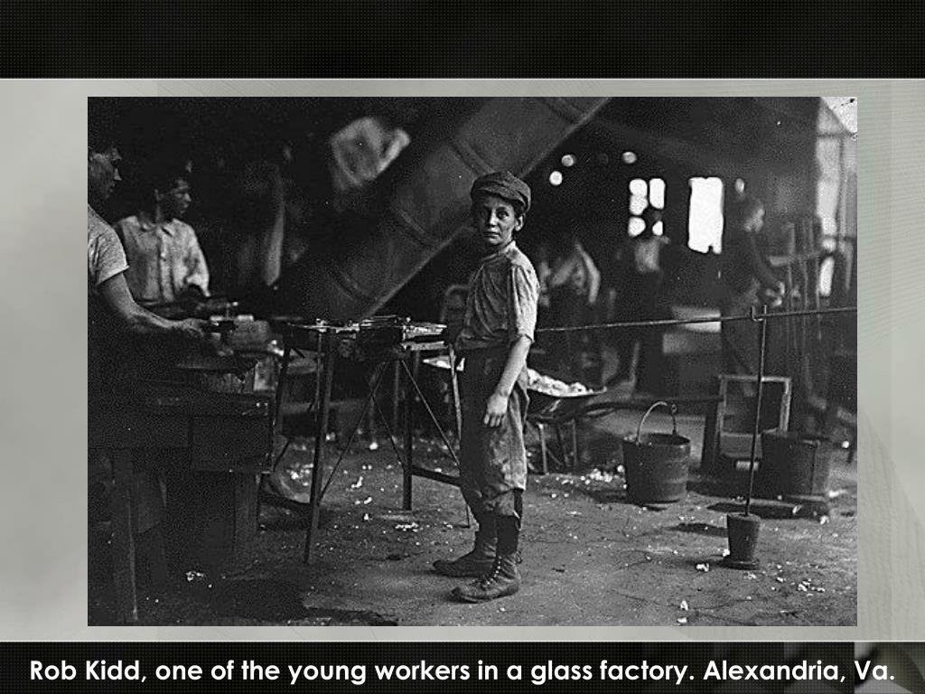 Rob Kidd, one of the young workers in a glass factory. Alexandria, Va.