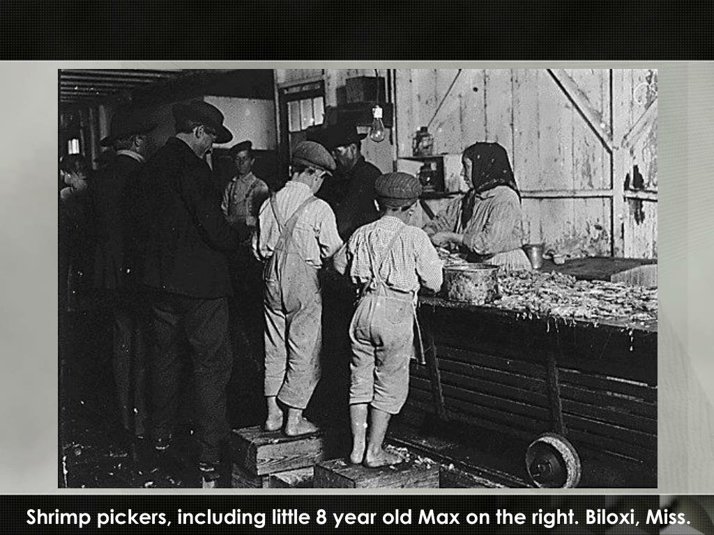 Shrimp pickers, including little 8 year old Max on the right. Biloxi, Miss.