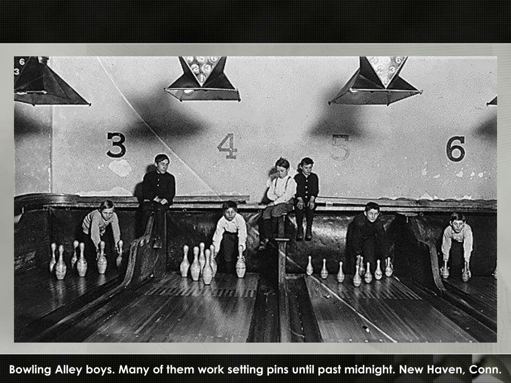 Bowling Alley boys. Many of them work setting pins until past midnight. New Haven, Conn.
