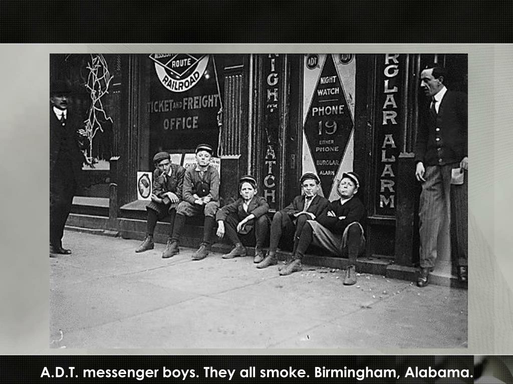 A.D.T. messenger boys. They all smoke. Birmingham, Alabama.