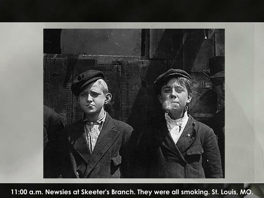 11:00 a.m. Newsies at Skeeter's Branch. They were all smoking. St. Louis, MO.