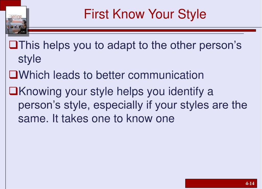 First Know Your Style