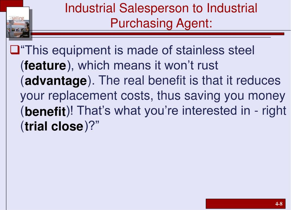 Industrial Salesperson to Industrial Purchasing Agent: