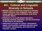 431 cultural and linguistic diversity in schools