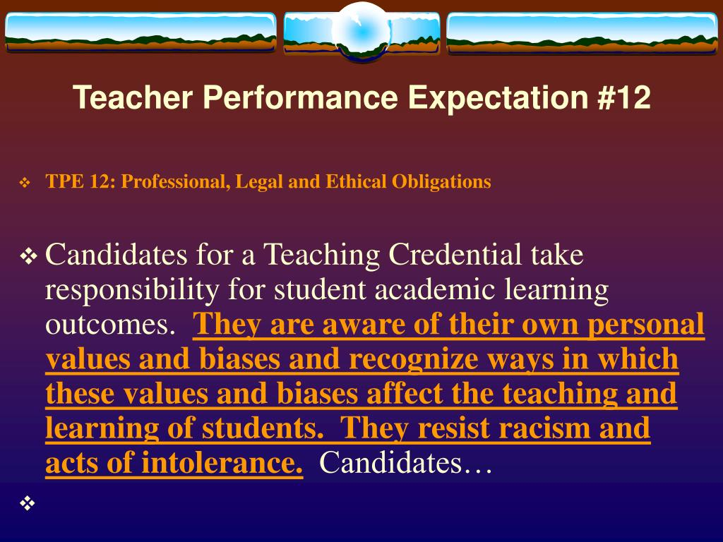 Teacher Performance Expectation #12