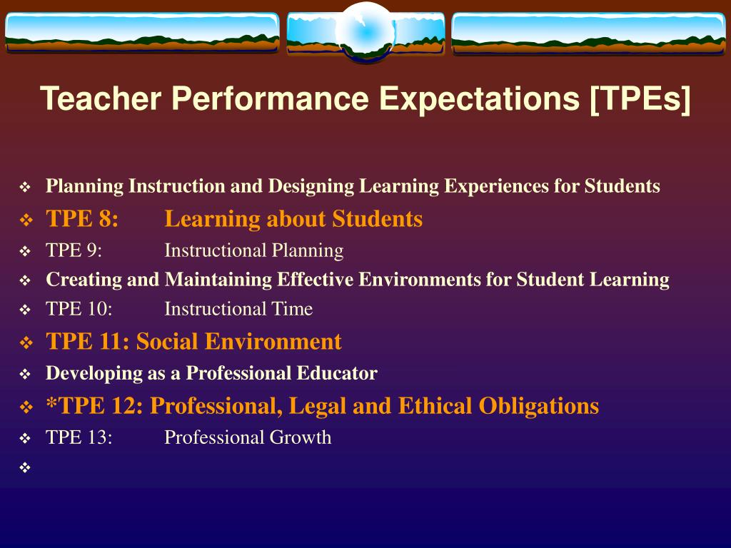 Teacher Performance Expectations [TPEs]