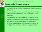 presidential announcement