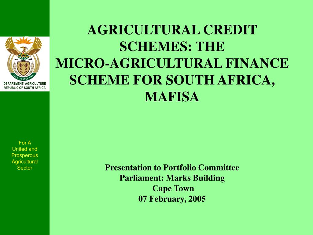 AGRICULTURAL CREDIT SCHEMES: THE