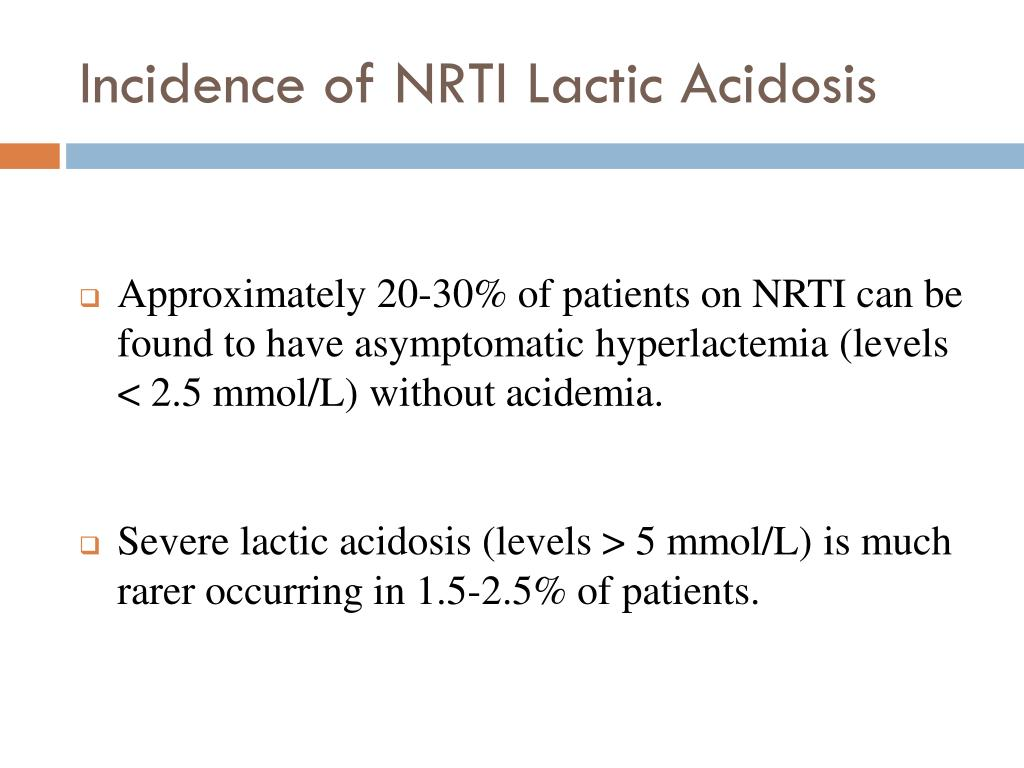 Incidence of NRTI Lactic Acidosis