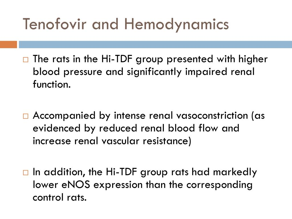 Tenofovir and Hemodynamics