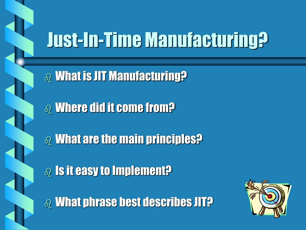 just in time manufacturing Just in time (jit) manufacturing a planning system for manufacturing processes that optimizes availability of material inventories at the manufacturing site to only what, when & how much is necessary.