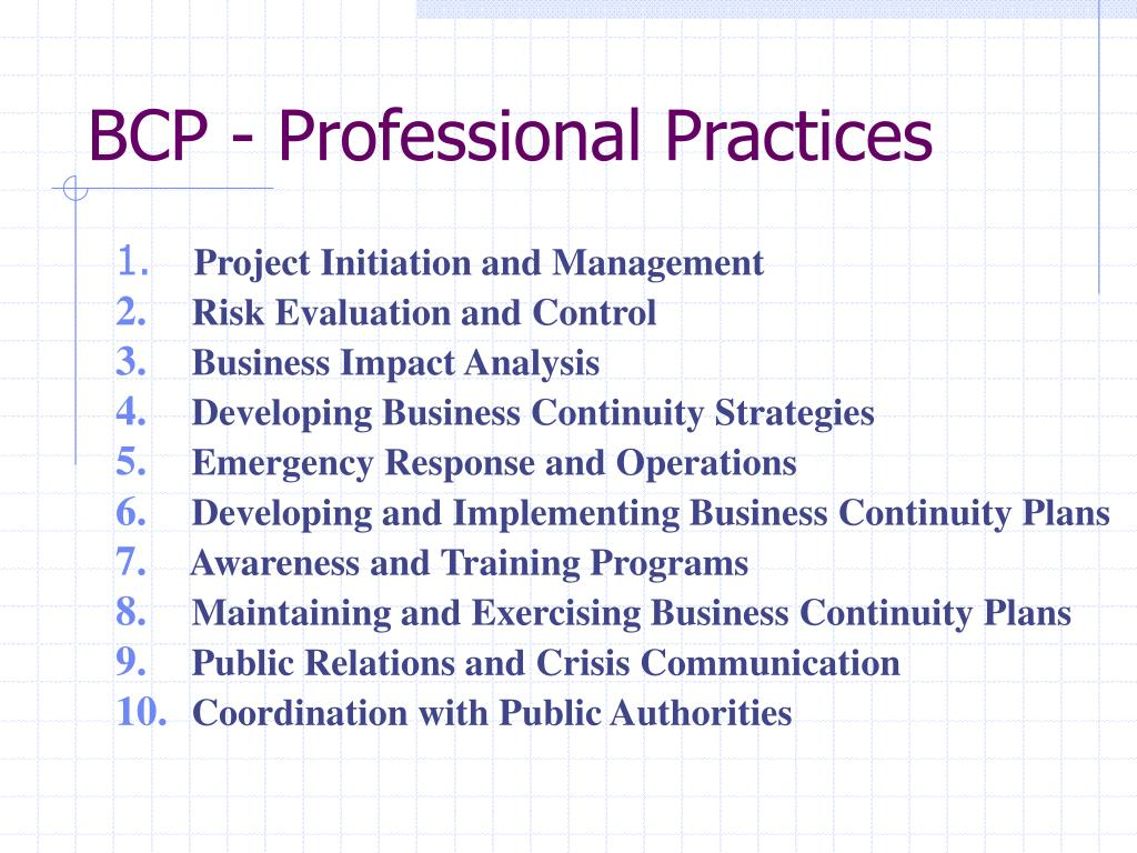 BCP - Professional Practices