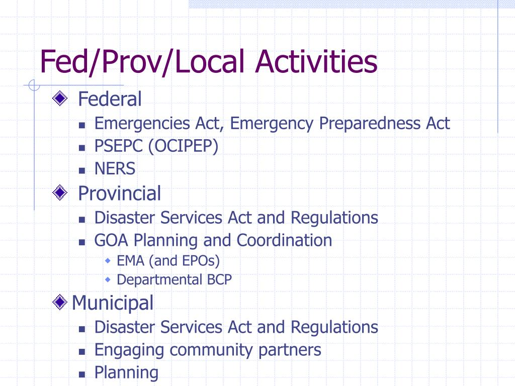 Fed/Prov/Local Activities