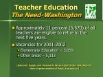 teacher education the need washington