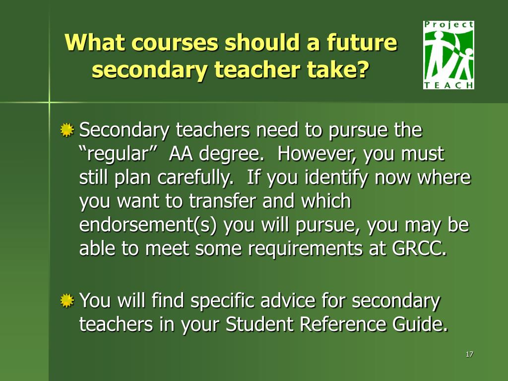What courses should a future secondary teacher take?