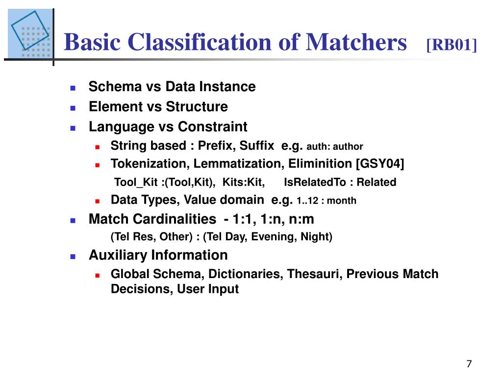 Basic Classification of Matchers