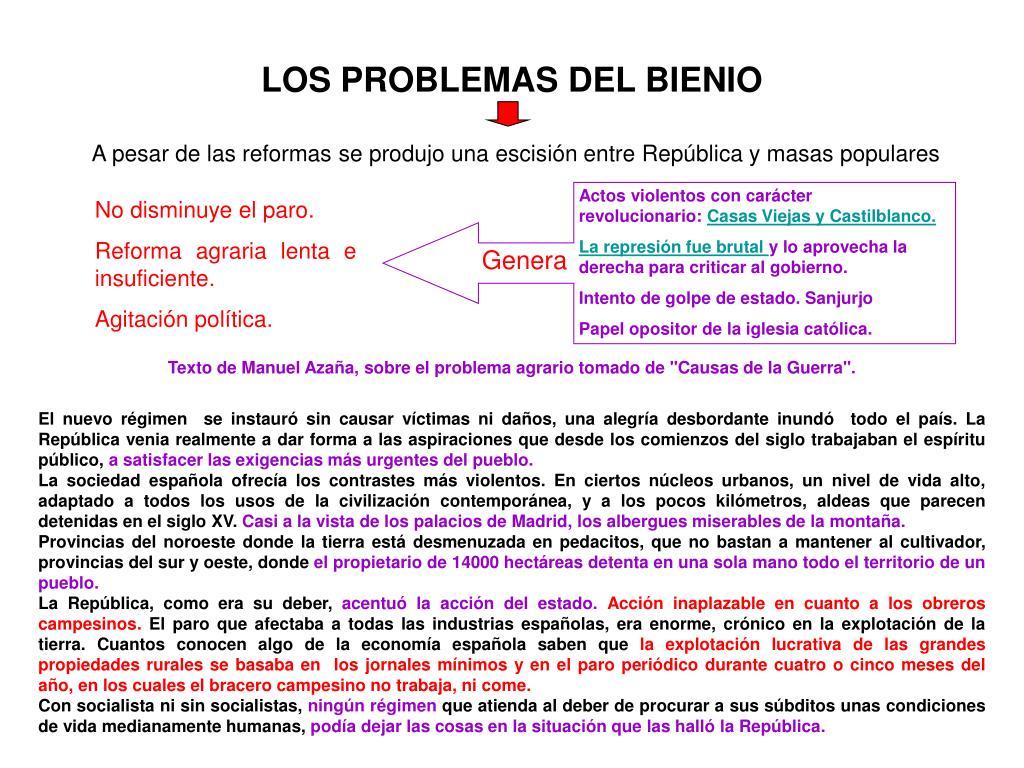 LOS PROBLEMAS DEL BIENIO