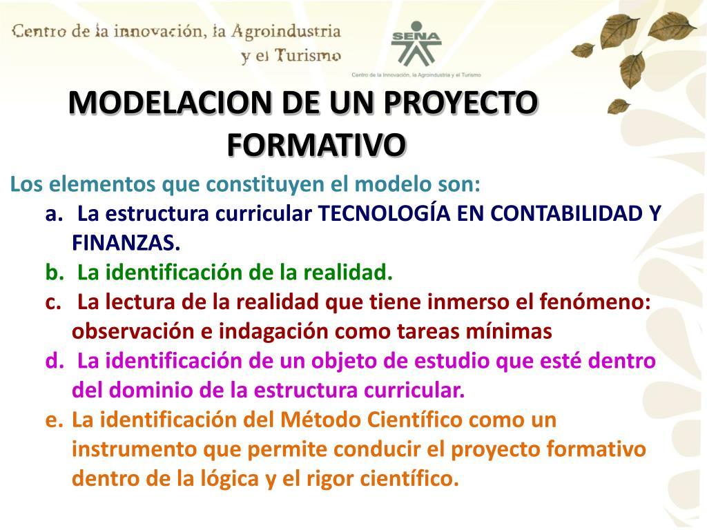 MODELACION DE UN PROYECTO FORMATIVO