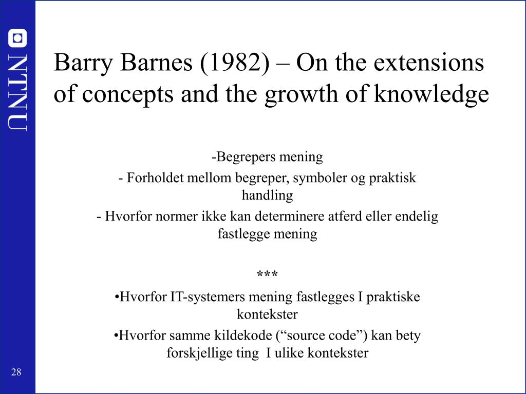 Barry Barnes (1982) – On the extensions of concepts and the growth of knowledge