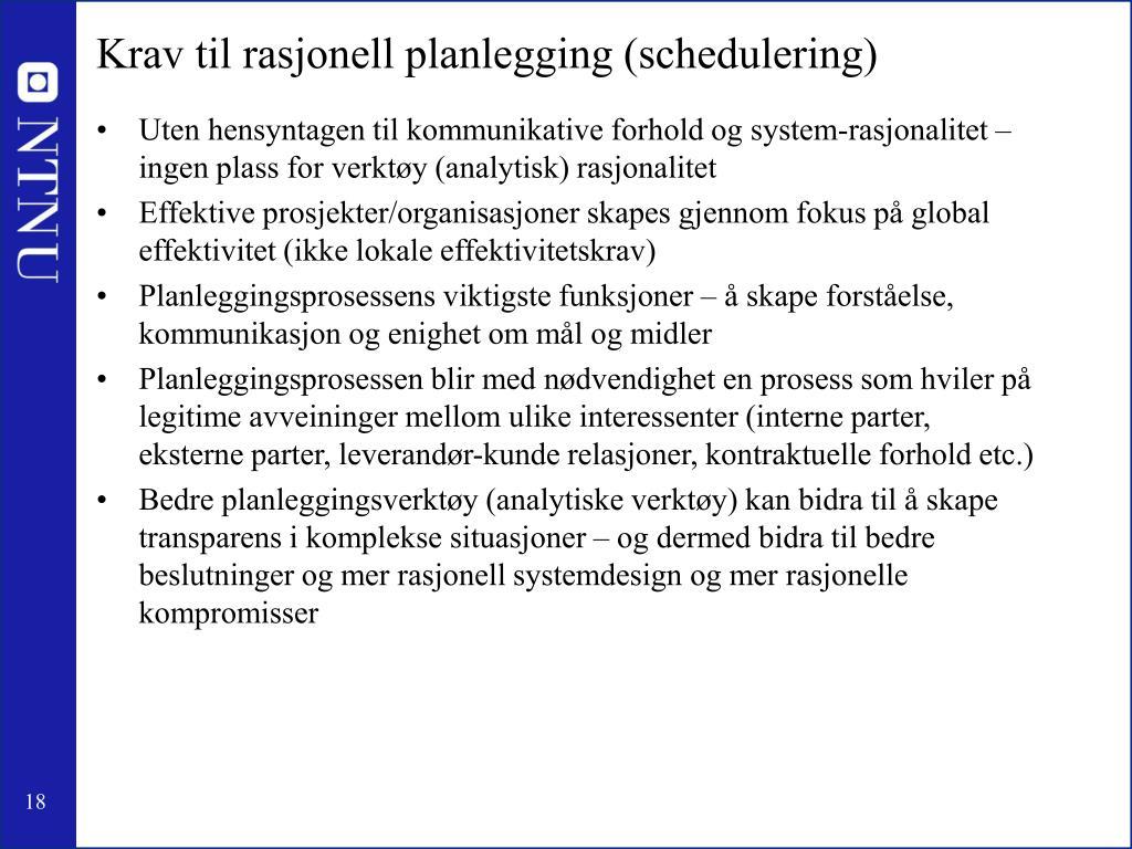 Krav til rasjonell planlegging (schedulering)