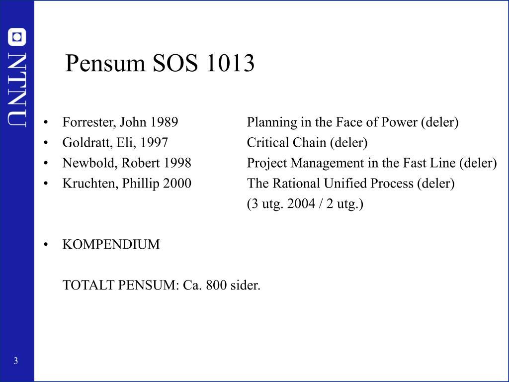 Pensum SOS 1013
