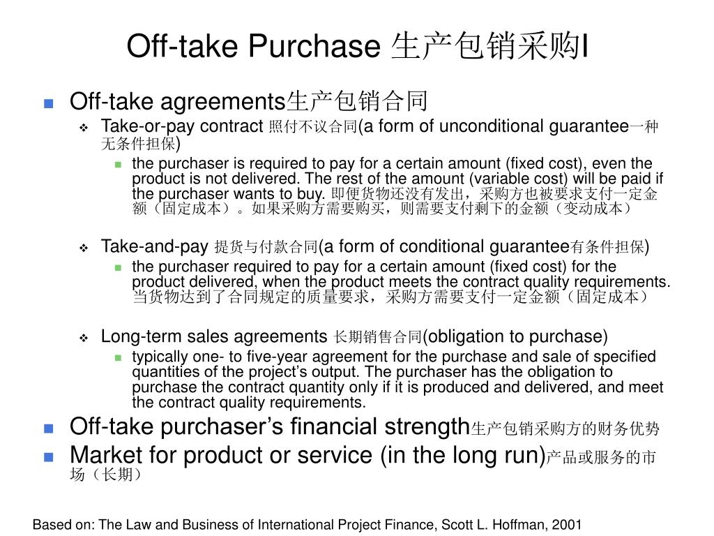 Off-take Purchase