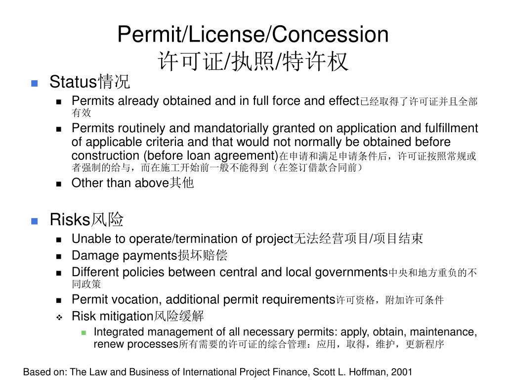 Permit/License/Concession