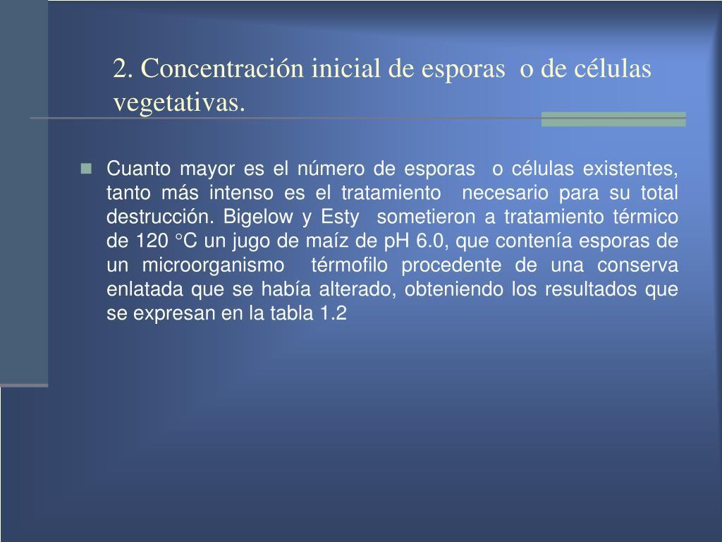 2. Concentración inicial de esporas  o de células vegetativas.