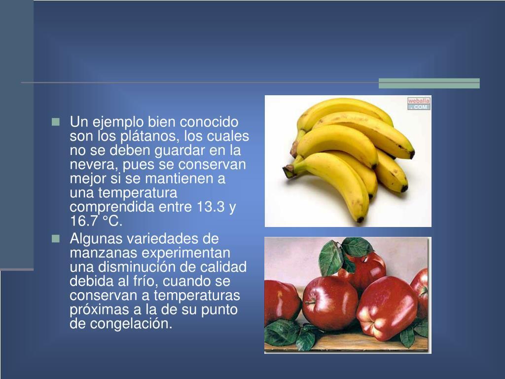 Un ejemplo bien conocido son los plátanos, los cuales no se deben guardar en la nevera, pues se conservan mejor si se mantienen a una temperatura comprendida entre 13.3 y  16.7 °C.