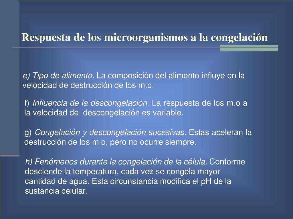 Respuesta de los microorganismos a la congelación