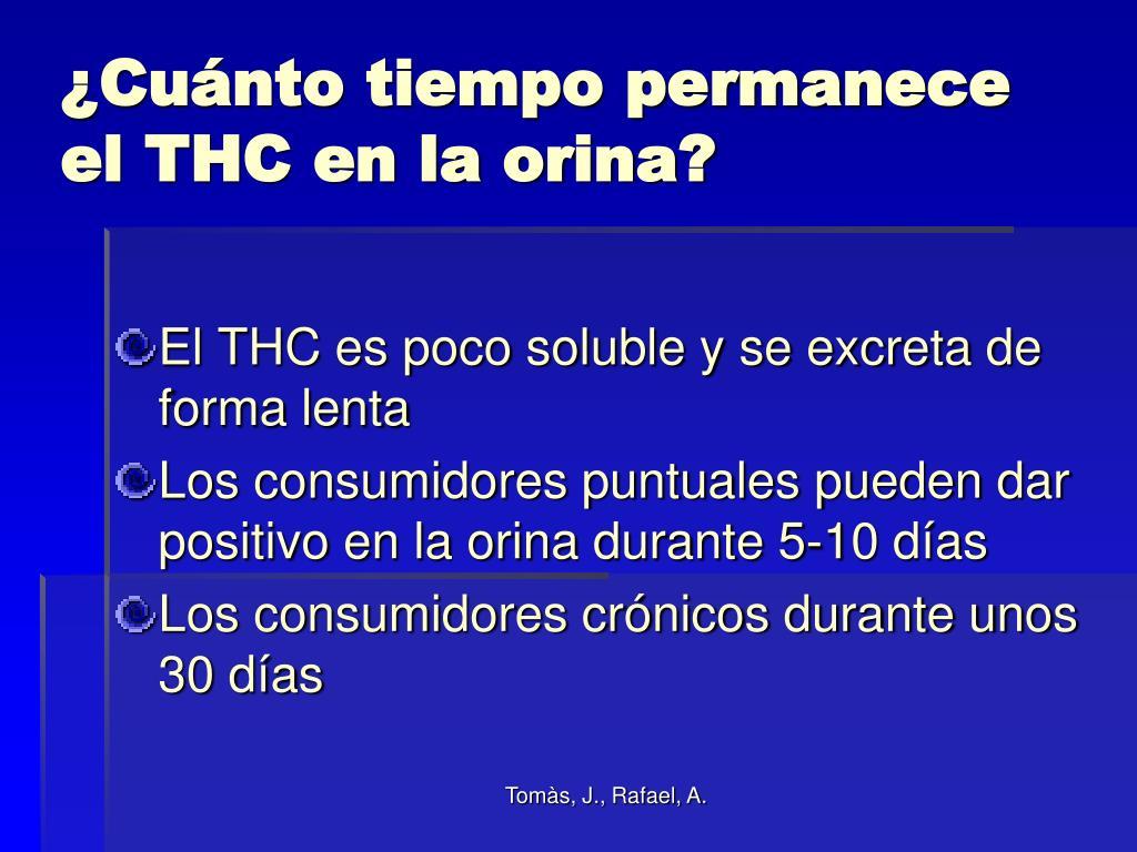 ¿Cuánto tiempo permanece el THC en la orina?