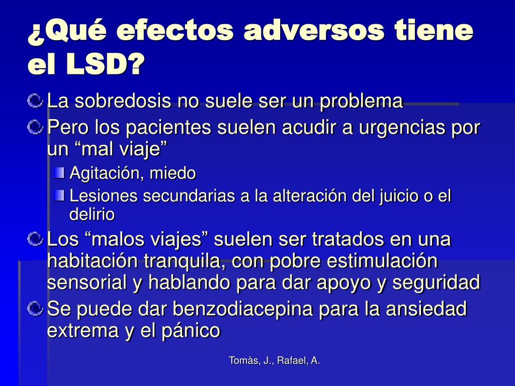 ¿Qué efectos adversos tiene el LSD?