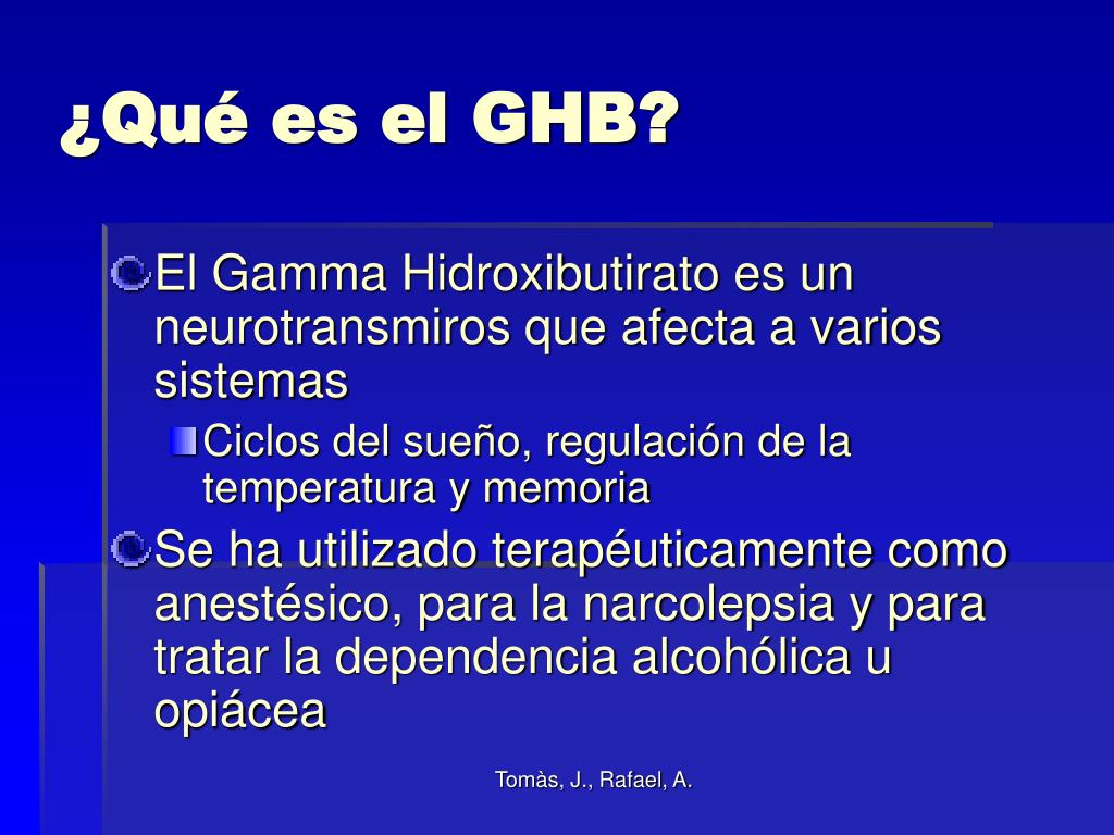 ¿Qué es el GHB?