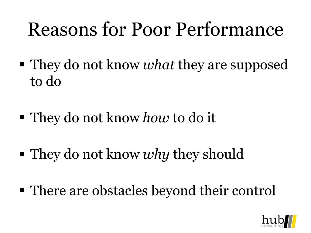 Reasons for Poor Performance