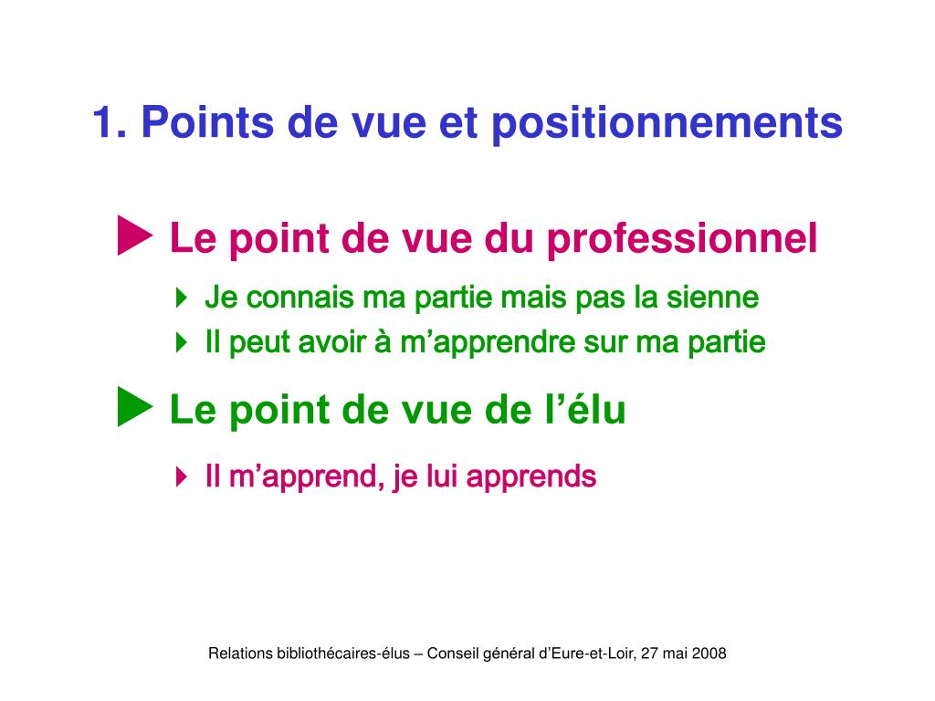 1. Points de vue et positionnements