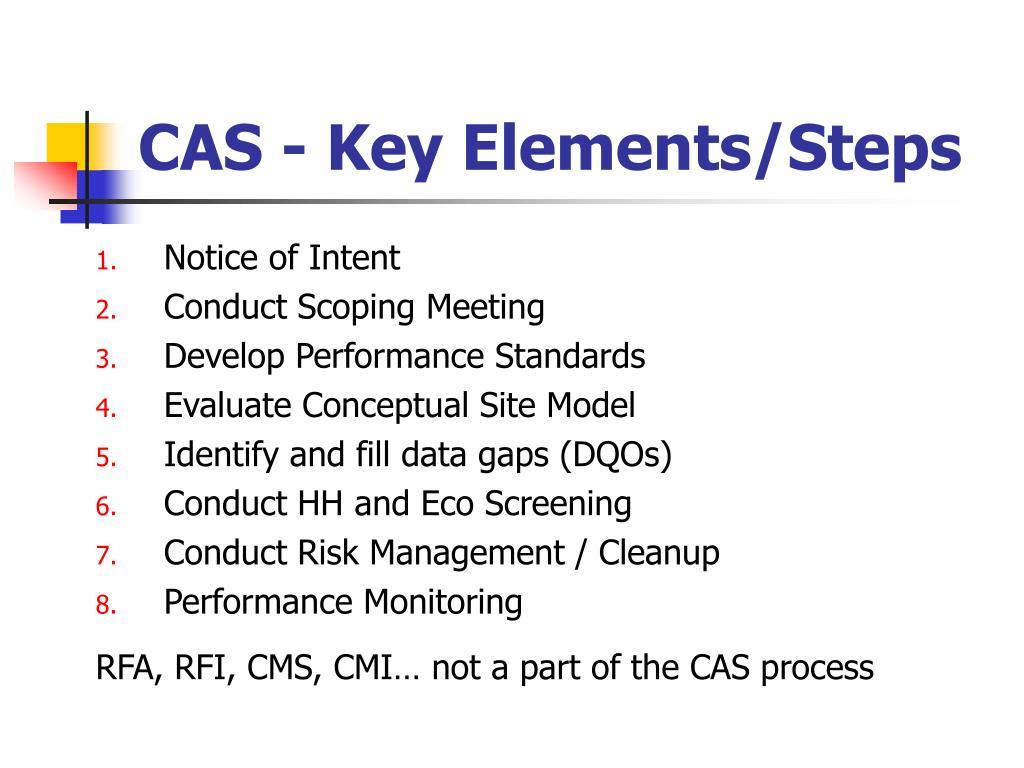 CAS - Key Elements/Steps