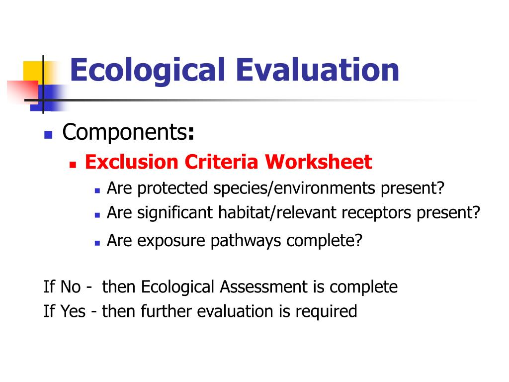 Ecological Evaluation