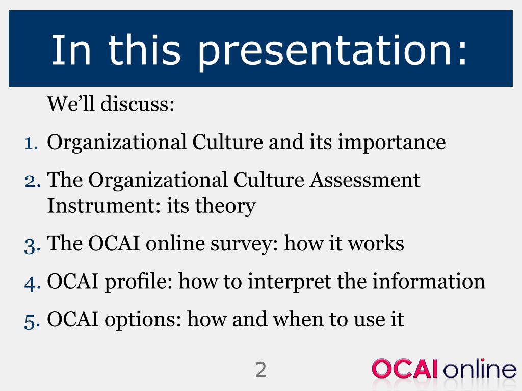 organizational culture assessment instrument essay Instruments for exploring organizational culture for the exploration of organizational culture seventy instruments are identifi to psychometric assessment.