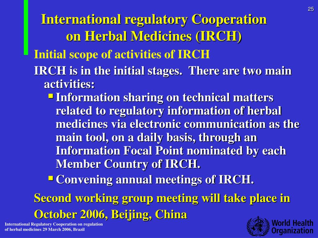 International regulatory Cooperation on Herbal Medicines (IRCH)