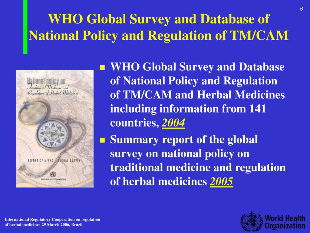 WHO Global Survey and Database of National Policy and Regulation of TM/CAM