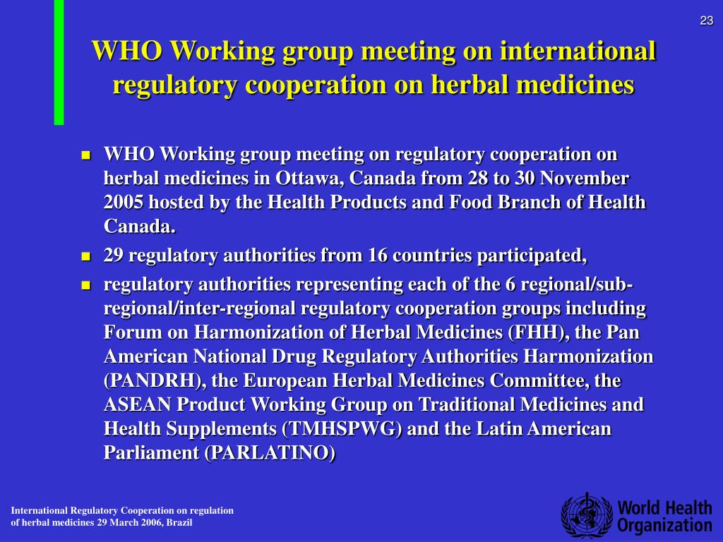 WHO Working group meeting on international regulatory cooperation on herbal medicines