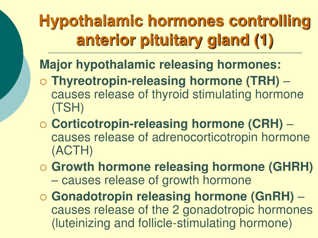 Hypothalamic hormones controlling anterior pituitary gland (1)