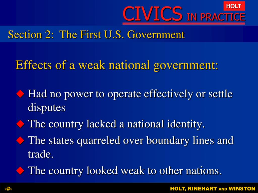 Section 2:The First U.S. Government