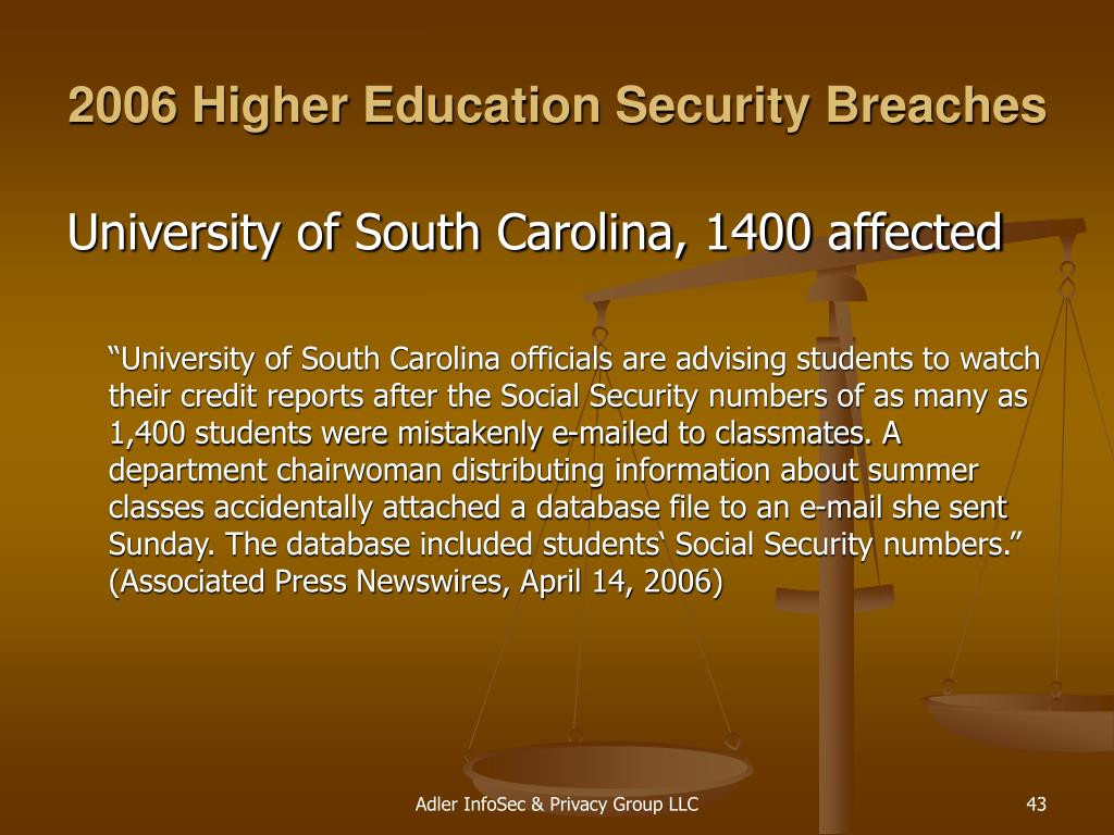 2006 Higher Education Security Breaches