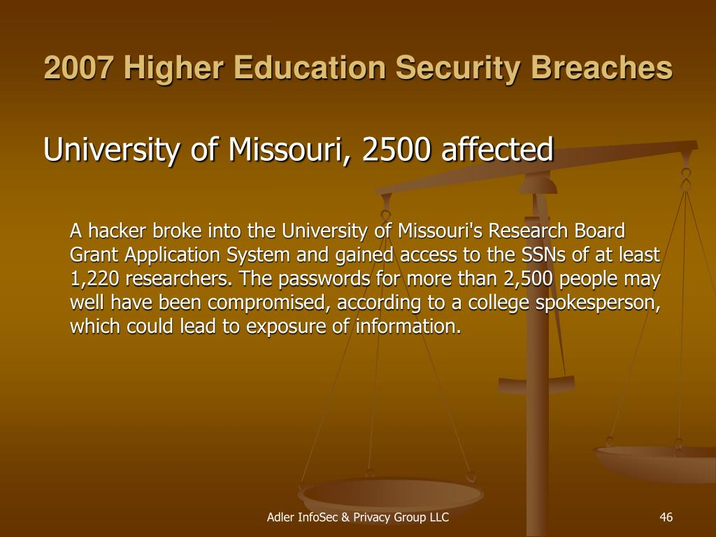 2007 Higher Education Security Breaches