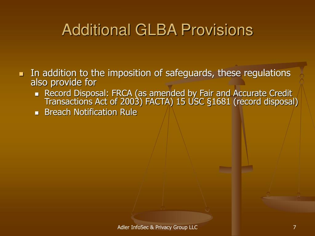 Additional GLBA Provisions