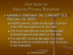 civil suits for security privacy breaches
