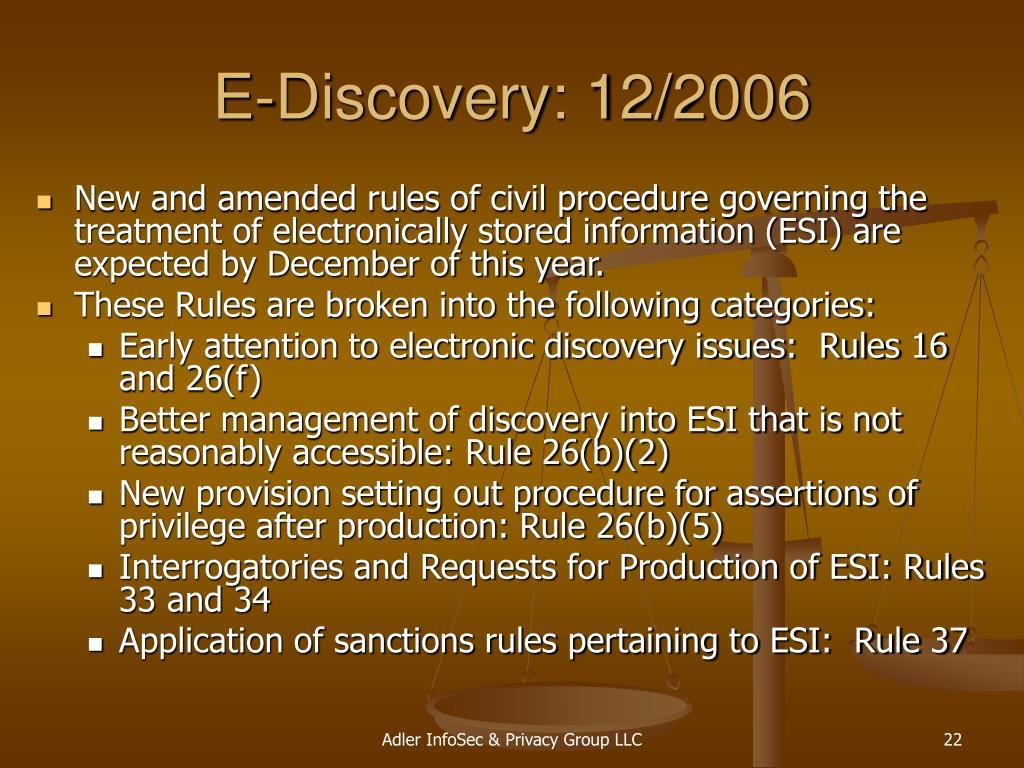E-Discovery: 12/2006