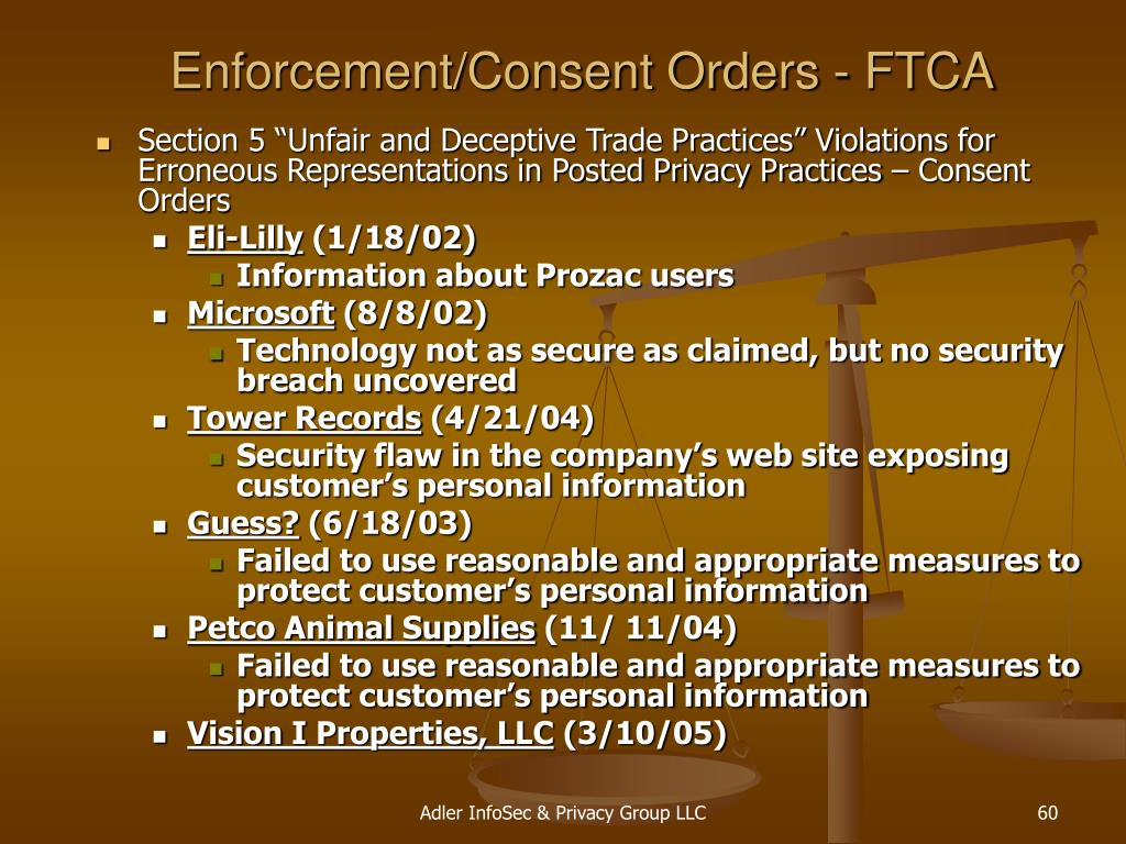Enforcement/Consent Orders - FTCA