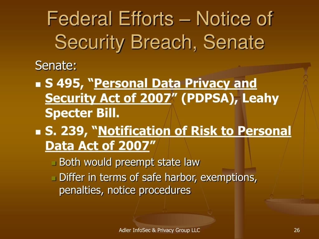 Federal Efforts – Notice of Security Breach, Senate